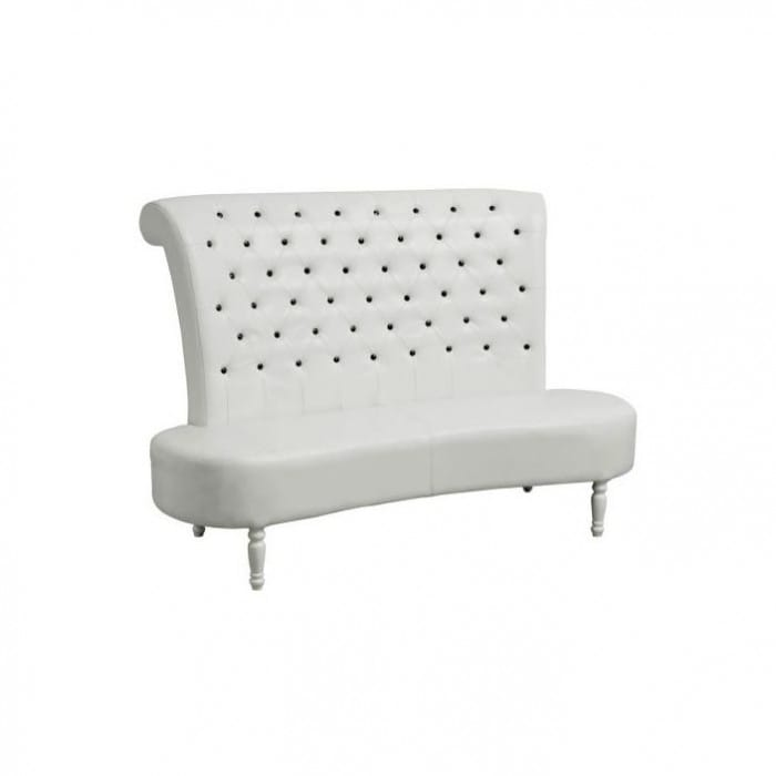 White leather sofa with black diamontes