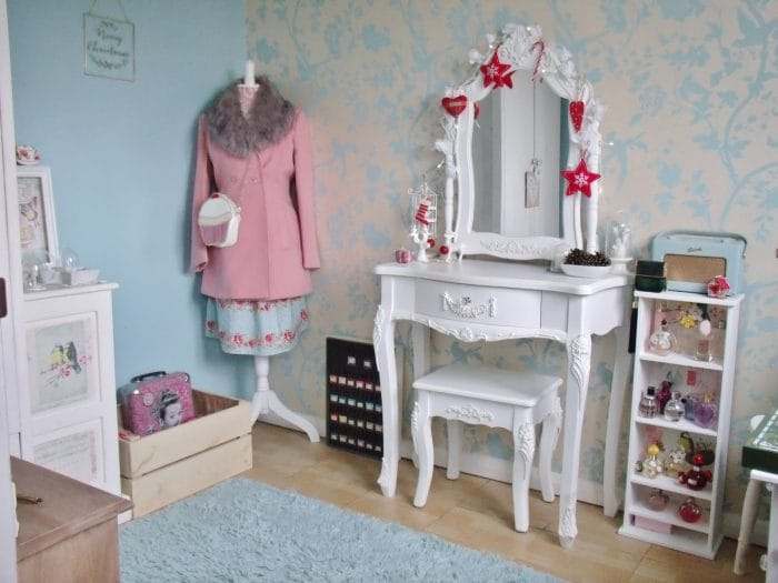 Antique Shabby Chic Style Dressing Table Set