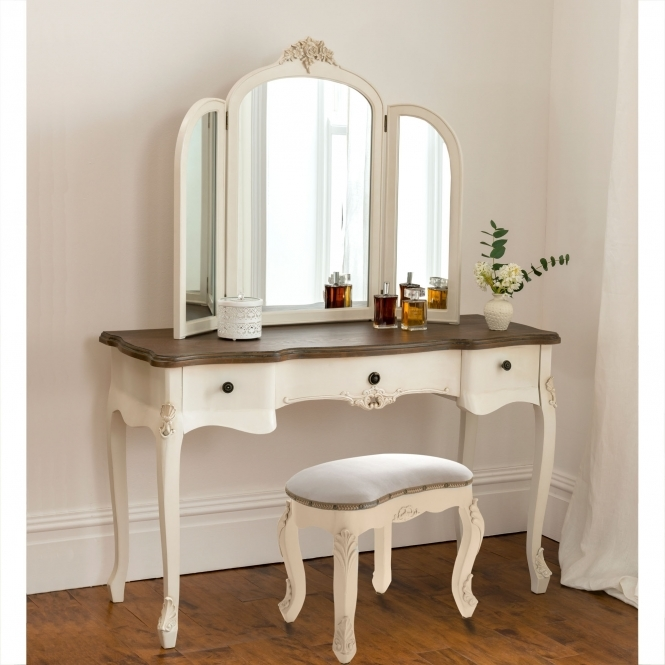 french style double pedestal dressing table set