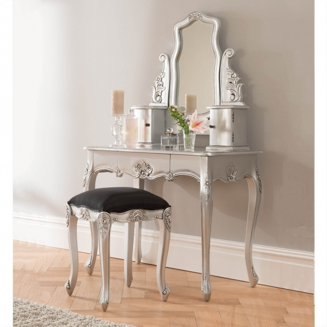 Silver antique French style dressing table set