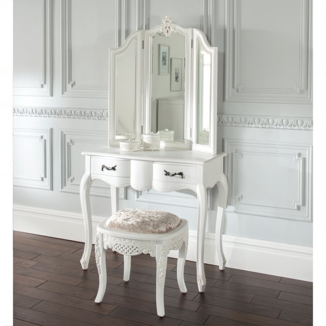 Single pedestal white french dressing table