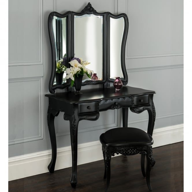 Black French style triple mirrored dressing table set