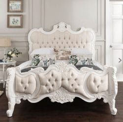 Shabby Chic Bed in ivory with diamonte headboard