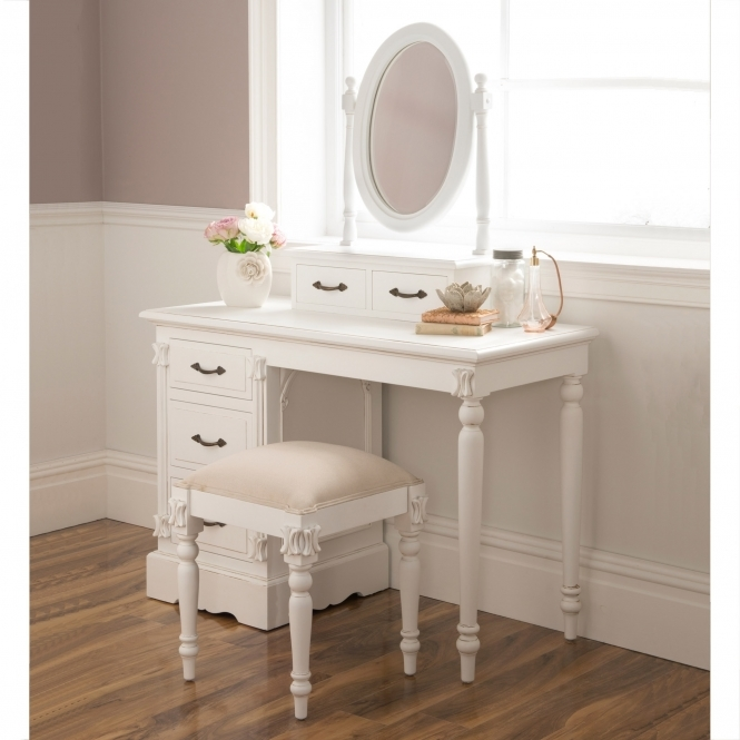 Victorian Antique Style White Dressing Table Set