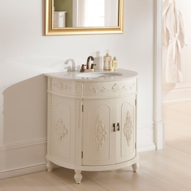 a shabby chic vanity unit