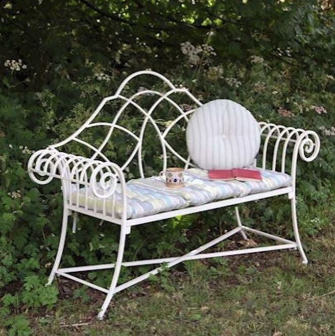 Cream antique French style outdoor bench