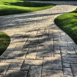 Grass lined block paving