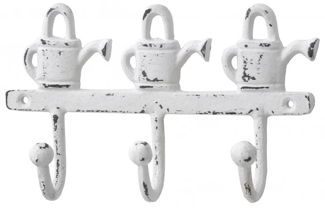 French style shabby chic iron watering can key hooks