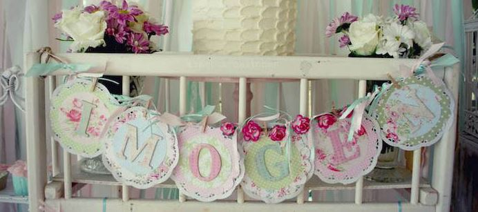 shabby chic style baby shower layout