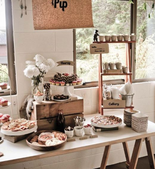 shabby chic themed farmhouse buffet