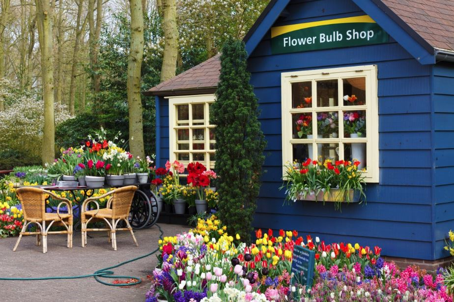 A wooden flower shop
