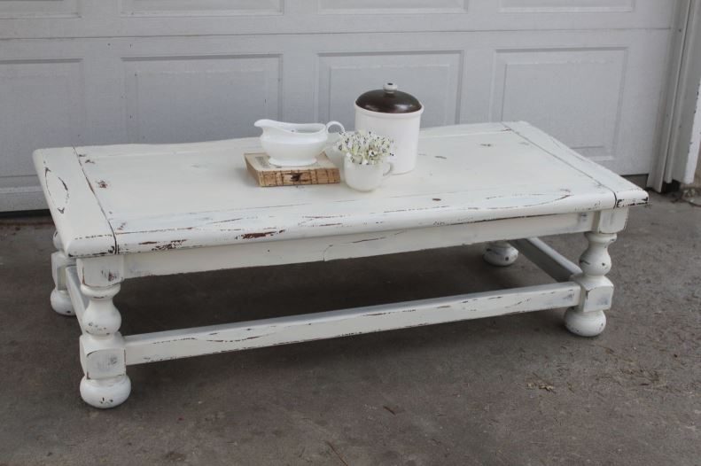 Worn distressed French style shabby chic furniture
