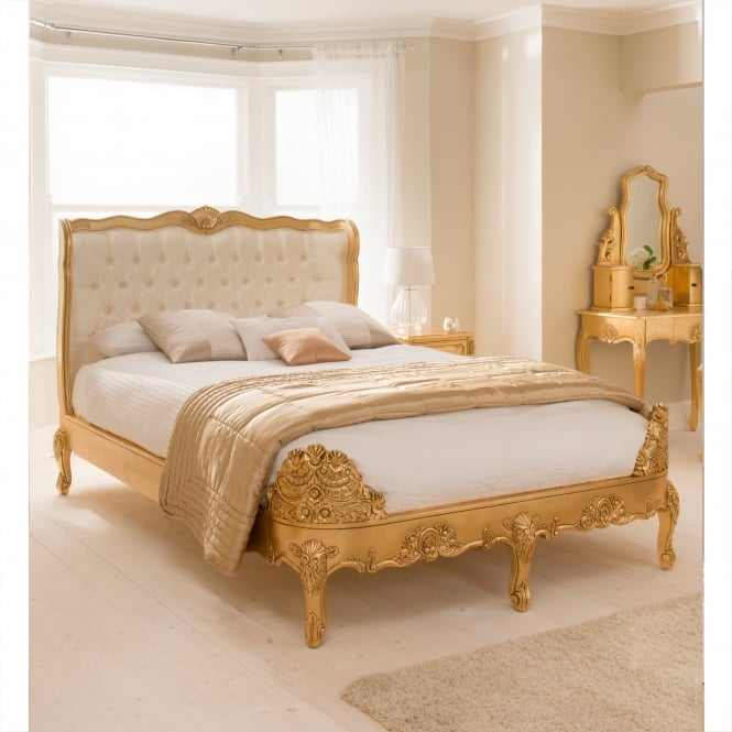 Gold Leaf Baroque Antique French Style Bed
