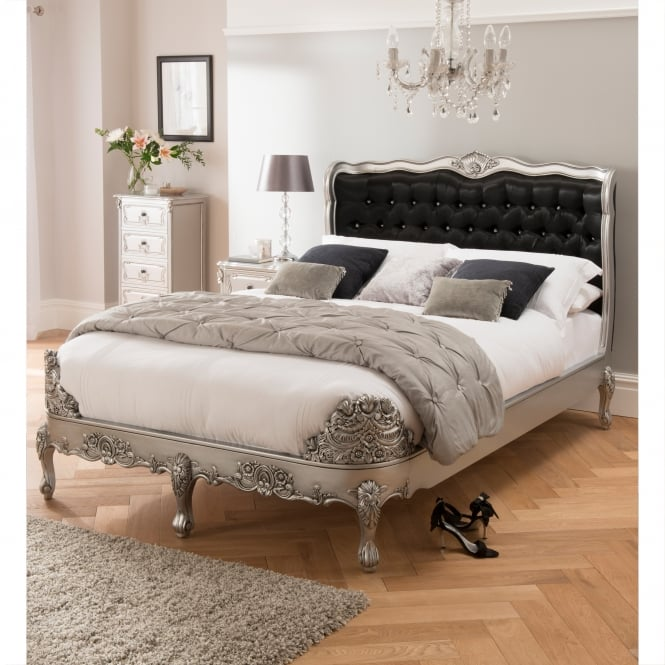 Upholstered Jewelled Baroque Antique French Style Bed