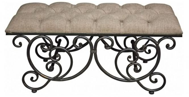 French Style Upholstered Bench