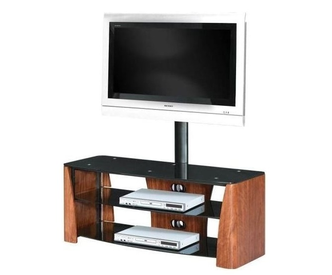 Walnut and tempered glass tv cabinet