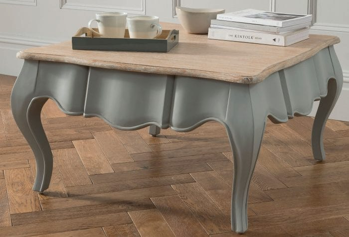 Shabby Chic and French Style Coffee Table in Grey and Natural Wood