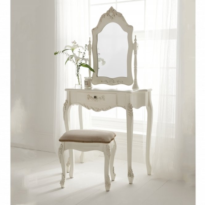 Shabby chic antique french style dressing table set in white