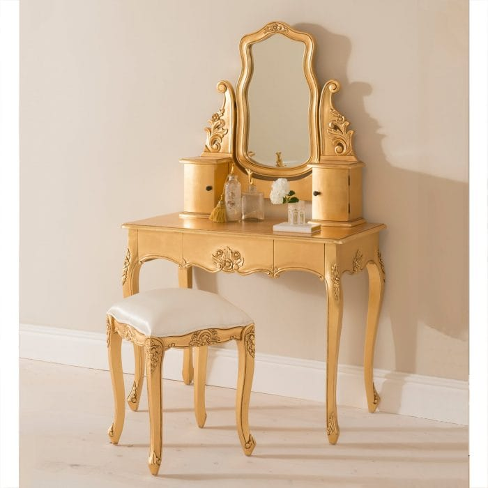 Gold Leaf Dressing Table Set - French Baroque Style