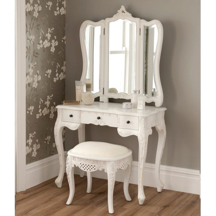 White Dressing Table Set - French Antique Style