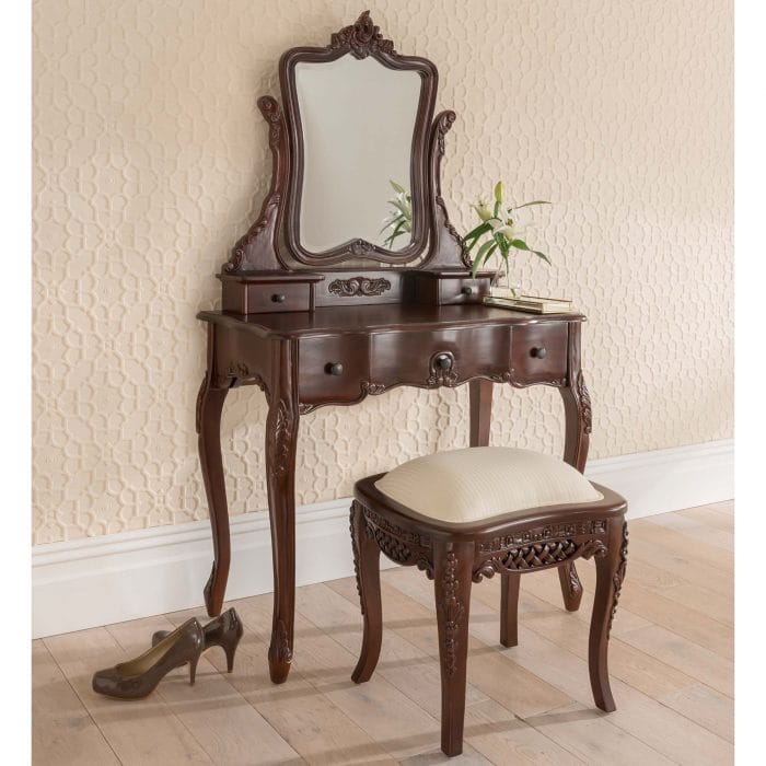 Antique French Style Dressing Table Set in Mahogany