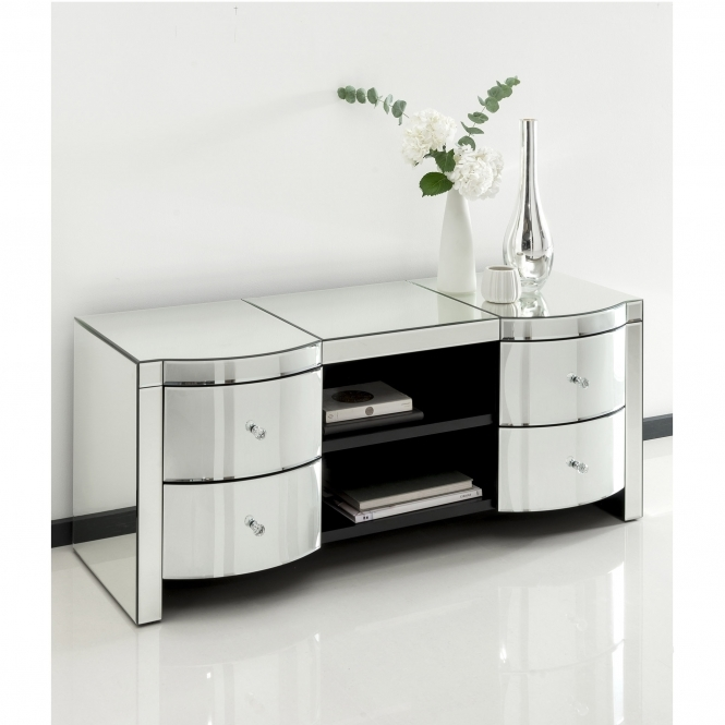 Romano crystal Venetian mirrored tv cabinet
