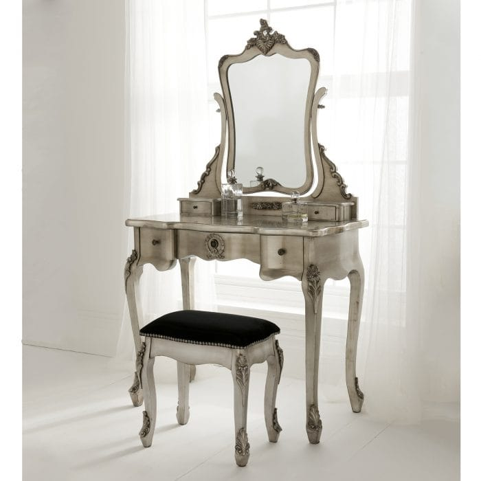 Silver French Style Dressing Table Set with Mirror & Stool