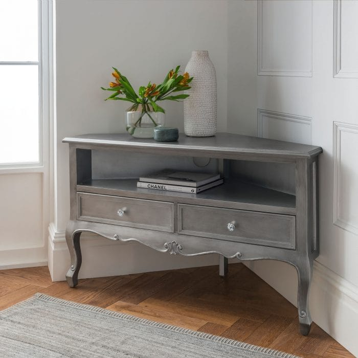 Shabby chic french style silver TV cabinet