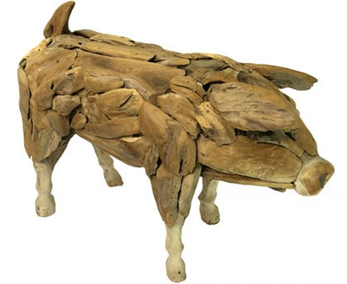Driftwood pig large ornament