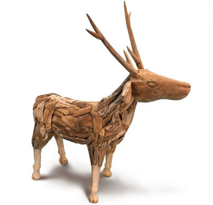 Driftwood reindeer small ornament