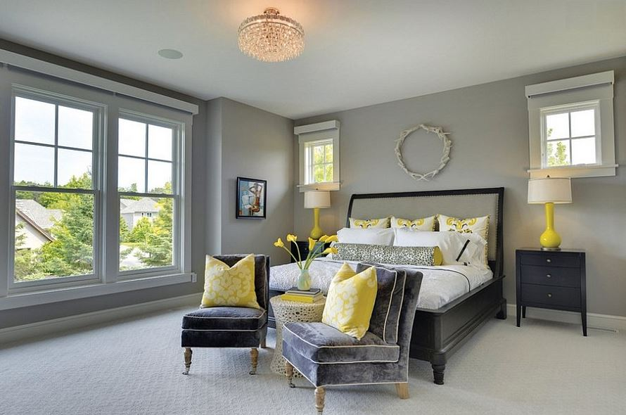 Grey and yellow bedroom accent