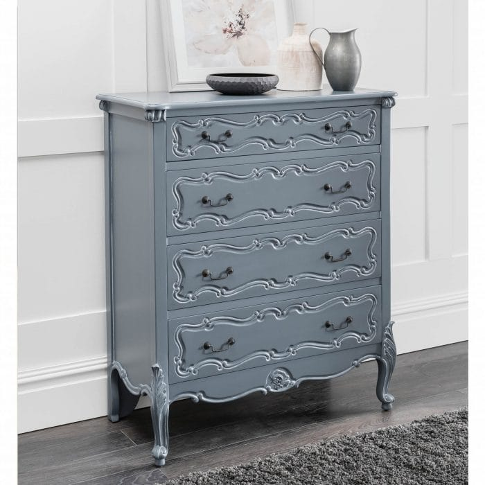 4 drawer grey chest with ornate details