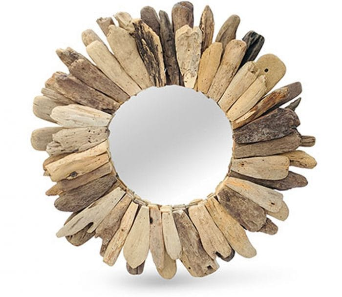 driftwood abstract round mirror