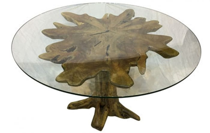 driftwood dining table round glass
