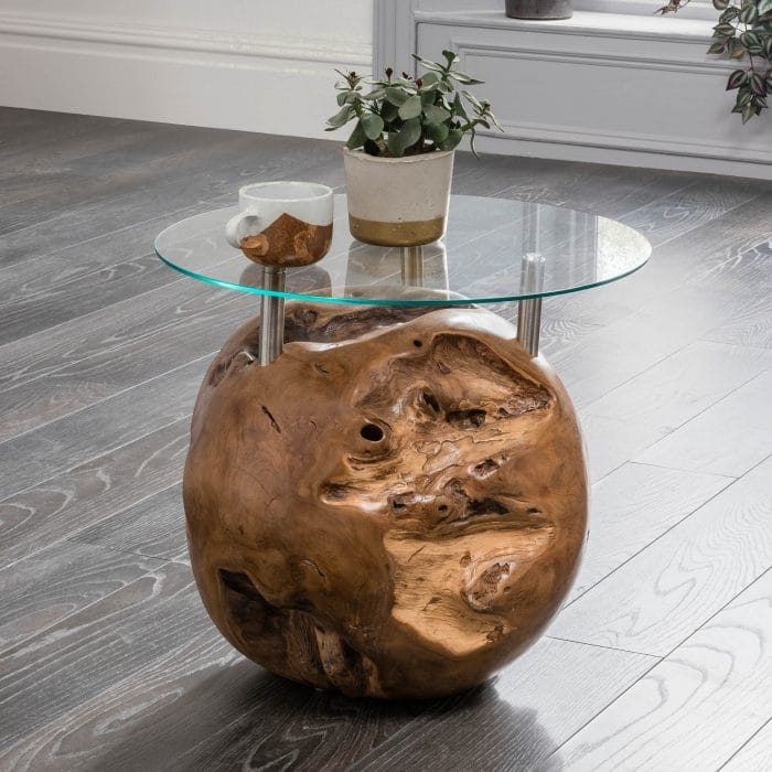 driftwood side table round design