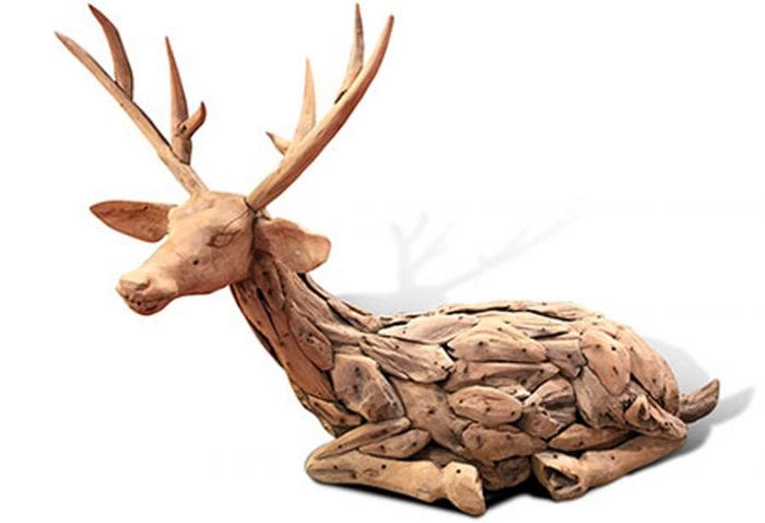 Driftwood reindeer wood carving