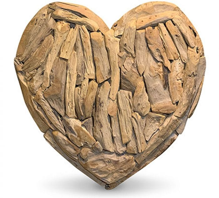 driftwood wall art in the shape of a heart