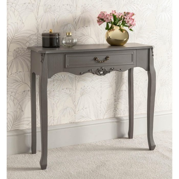 Single ornate grey console table