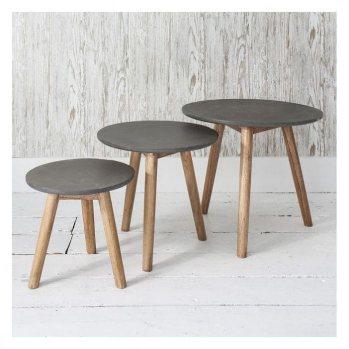 nest of tables in a grey colour