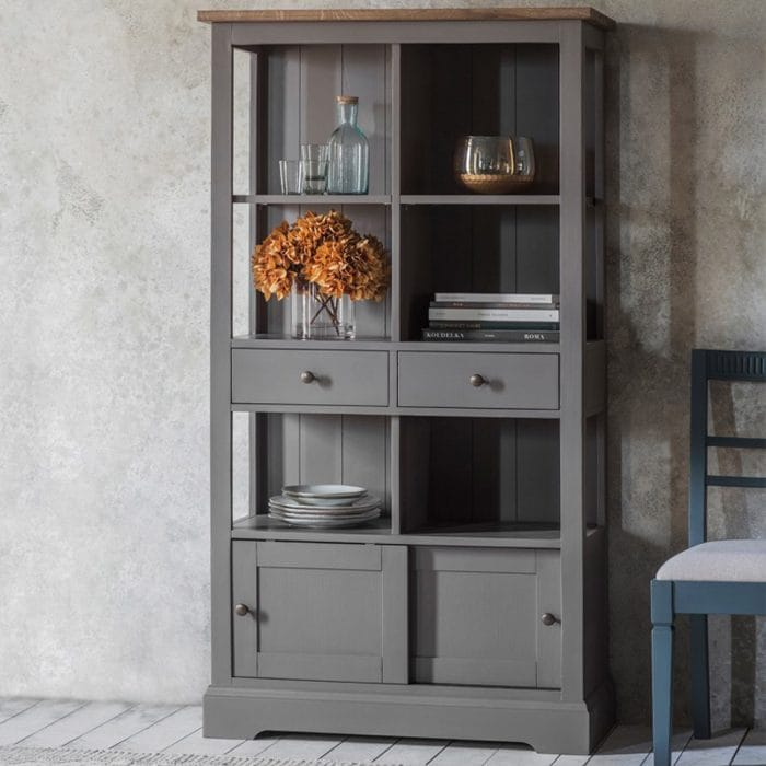 Tall grey bookcase