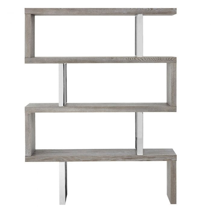 Unique bookcase finished in grey