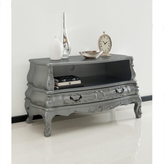 Ornate grey tv cabinet