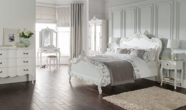 french bedroom furniture, french parisian interior design, french white bed