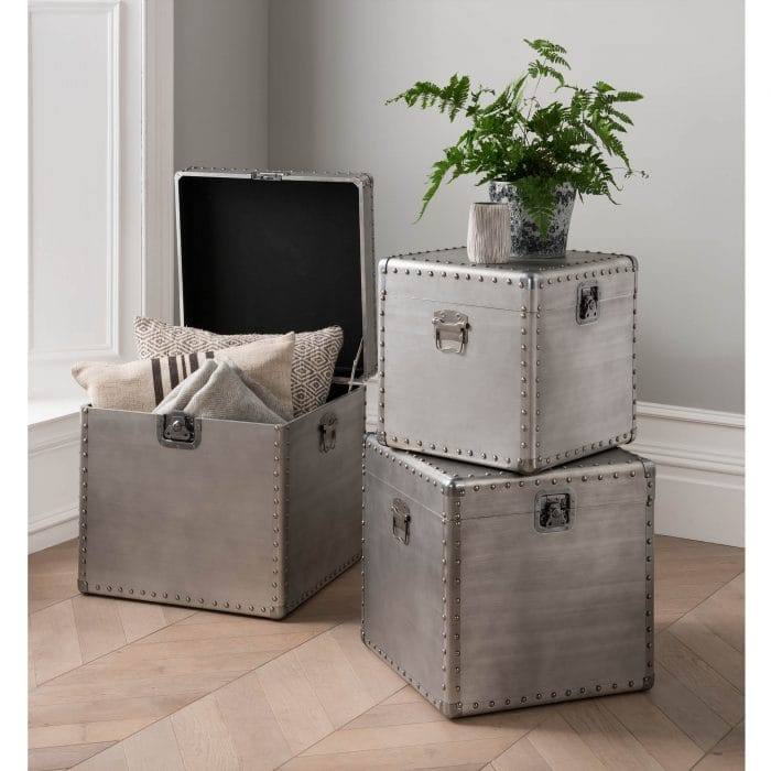 Set Of 3 Metal Trunks From Homesdirect365