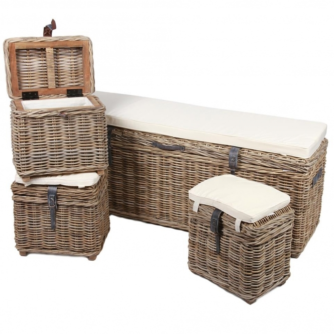 Wicker Merchant Bench & 3 Trunks