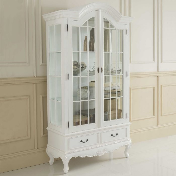 white glass front Antique French Style Display Cabinet