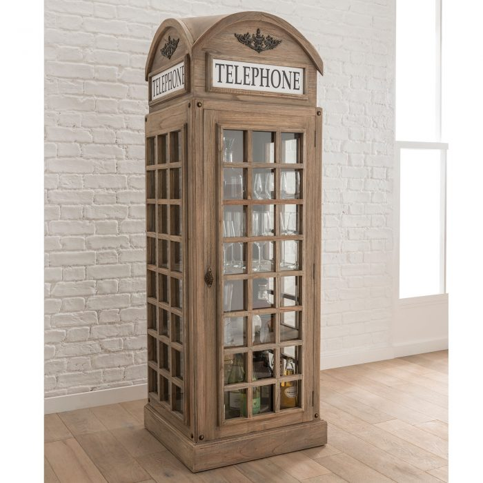 Natural Wood Telephone Box Display Cabinet