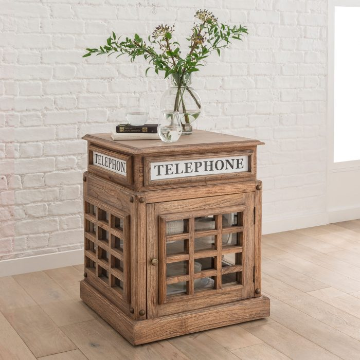 Natural Wood Telephone Box Side Table