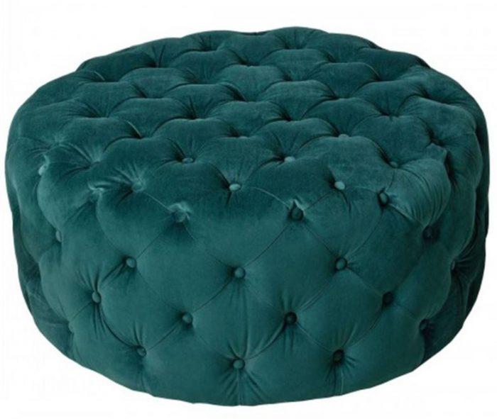 round deep buttoned fabric pouffe
