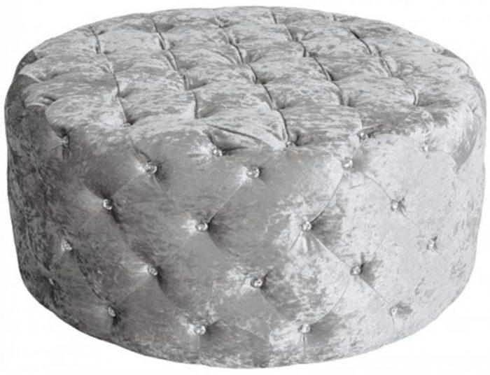 round diamonte silver pouffe